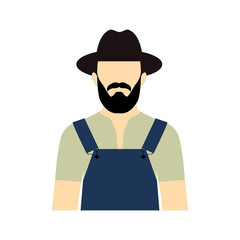 Vector flat icon of worker.  Farmer vector icon. Farmer with bea