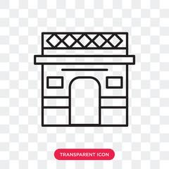 Arc de triomphe vector icon isolated on transparent background, Arc de triomphe logo design