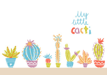 Collection of hand drawn cactus in pots. Bright exotic succulent