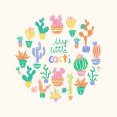 Vector illustration of hand drawn cactus. Round composition. Bri