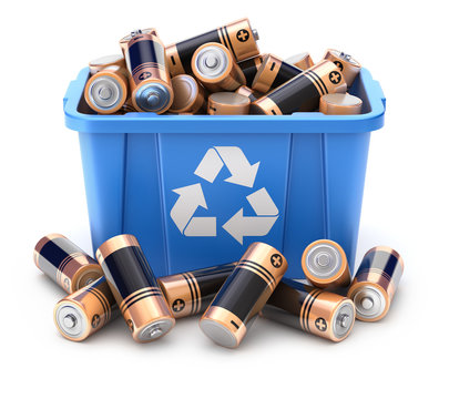 Batteries in blue recycle crate on white background