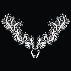 Head of a deer with magnificent horns, a tree with a berry, a black background