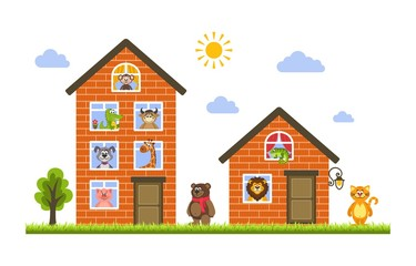 Two houses in which live animals: monkey, crocodile, cow, dog, giraffe, bear, cat, lion, iguana and pig. Zoo theme. Flat style. Vector illustration for kids on a white background.