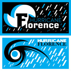 Two abstract vector mnemonic designs with rain and thunderstorm symbols of Hurricane Florence in blue and black color schemes