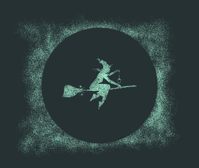 Illustration of flying young witch icon composed of particles. Witch silhouette on a broomstick with lamp. Halloween relative image.
