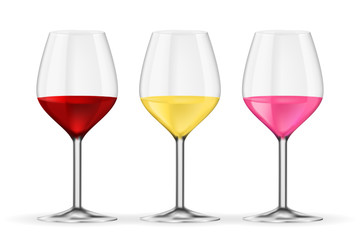 Glass of wine. Red, white and rose wine. Vector 3d illustration isolated on white background