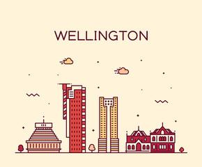 Wall Mural - Wellington city skyline New Zealand vector linear