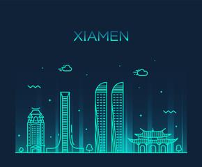 Fototapete - Xiamen skyline China vector linear style city