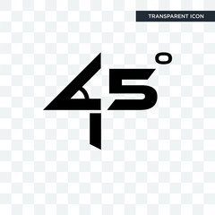 45 degree angle vector icon isolated on transparent background, 45 degree angle logo design