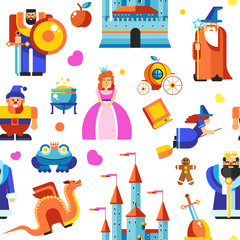 Disneyland princess and wizards, castle seamless pattern vector