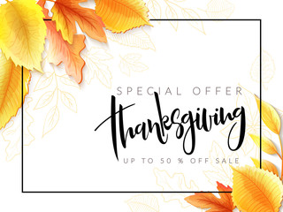 Vector greeting thanksgiving banner with hand lettering label - happy thanksgiving - with bright autumn leaves and doodle leaves