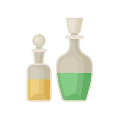 Two old glass medicine bottle vector Illustration on a white background