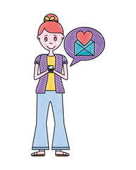 young woman using mobile email romantic message
