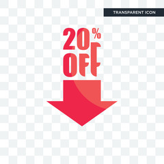 20% off vector icon isolated on transparent background, 20% off logo design