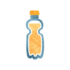 Small plastic bottle with fresh orange juice. Healthy drink. Container with sweet beverage. Flat vector icon with texture