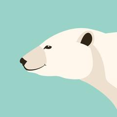 polar bear head    vector illustration flat style  profile
