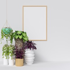 Frame and Poster Mockup with Plants Decoration