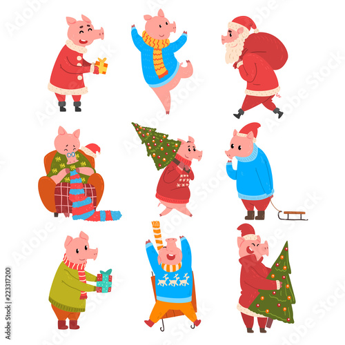 Cute Pigs Celebrating New Year Set Funny Piggy Characters In