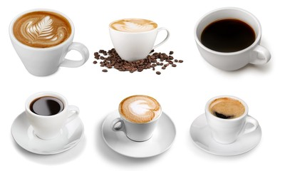 Various cups with hot coffee