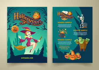 Vector Halloween invitation on list. Brochure template with headers. Background with sexy flying witch, scary Frankenstein and cartoon pumpkins. Posters with website link isolated on gray background.