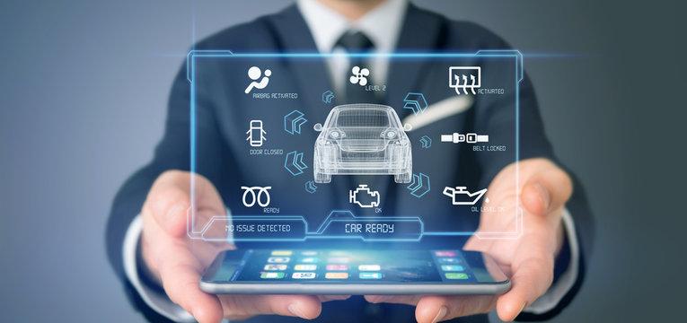 Man holding a Dashboard smartcar interface dashboard 3d rendering