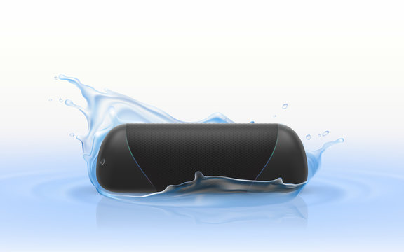 Vector 3d realistic portable loudspeaker in blue water. Waterproof wireless sound device isolated on white background, hi-fi stereo in splashing drops of liquid. Stereo equipment, electronic player.