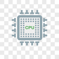 Cpu vector icon isolated on transparent background, Cpu logo design