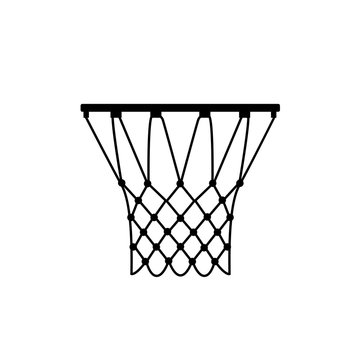 Basketball ring icon, silhouette, logo on white background