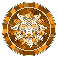 Illustration in the style of a stained glass window with abstract sun in frame,round image,brown tone