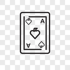 Ace of spades vector icon isolated on transparent background, Ace of spades logo design
