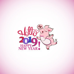 Cute pink pig. HELLO.Happy New Year. Chinese symbol of the 2019 year. Greeting card, festive gift card with a festive greeting. Chinese New Year.