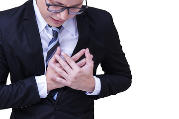 A portrait of Young Handsome asian businessman in black suit very tried after work having heart attack on white background. Healthy people Concept.