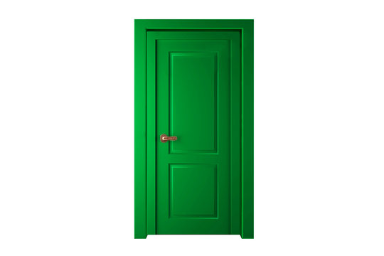 Modern green room door isolated on white background