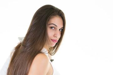 Portrait of beautiful fashion woman on white background