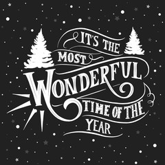 Aluminium Prints Christmas Its the most wonderful time of the year - hand lettering vector.