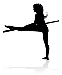 A woman dancer stretching her legs in silhouette graphic