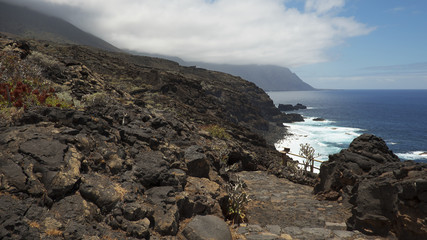 Horizontal shot of the western part of the island, on he walking route to Charco Azul, in El Hierro, Canary Islands, Spain
