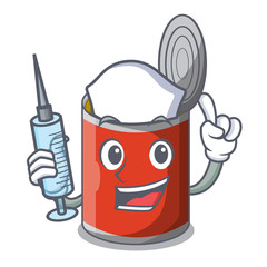 Nurse metal food cans on a cartoon