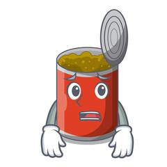 Afraid canned food on the table cartoon