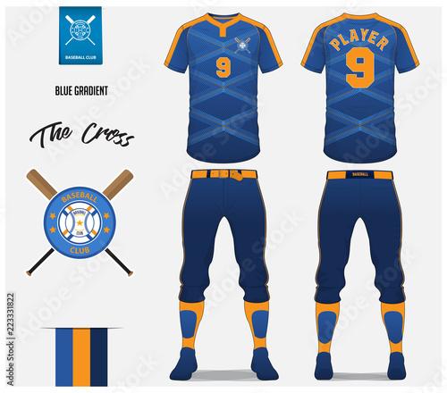 baseball jersey pants and socks template design blue gradient