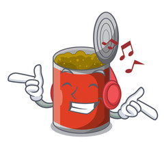 Listening music canned food on the table cartoon