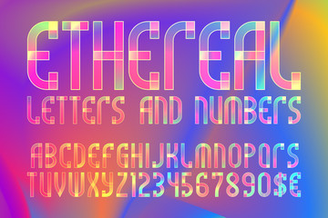 Ethereal letters and numbers with currency symbols. Colorful translucent font on iridescent background.