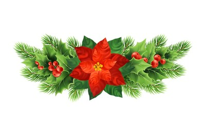 Christmas poinsettia flower realistic vector illustration
