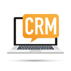 Desktop CRM System Icon. Business and Finance. Vector illustration.