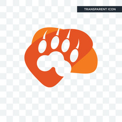 lion paw vector icon isolated on transparent background, lion paw logo design
