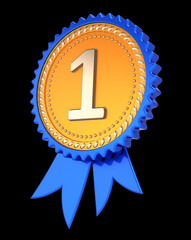 number one 1 1st first place award ribbon, medal golden blue. achievement success, champion winner reward symbol concept. 3d illustration, isolated on black