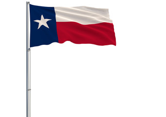 Isolated flag of the US state of Texas is flying in the wind, 3d