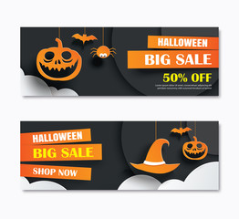 Halloween sale banner with dark moon paper art background. Vector illustration voucher template. Use for poster, flyer, coupon, website.