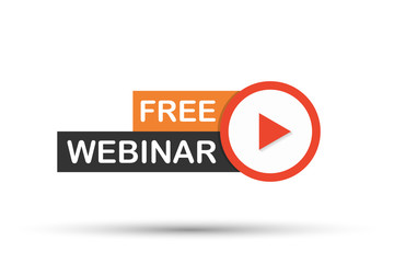 Free Webinar Icon, flat design style with red play button. Vector illustration.