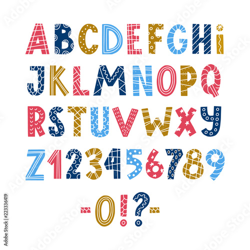 Funny colorful scandinavian style hand drawn alphabet abc and funny colorful scandinavian style hand drawn alphabet abc and numbers with decoration elements m4hsunfo